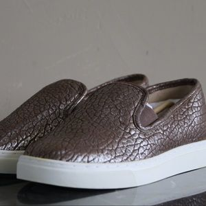 Vince Camuto Leather Slip-On Shoes- Taupe Silver